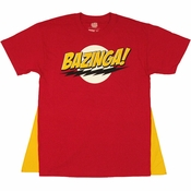 Big Bang Theory Bazinga Red Caped T Shirt