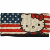 Hello Kitty Burlap Flag Clutch Wallet