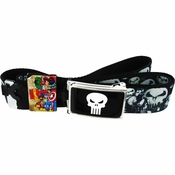 Punisher Skull Collage Mesh Belt