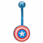 Captain America Blue Belly Ring