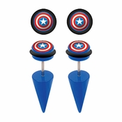 Captain America Faux Taper Earrings