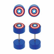 Captain America Faux Plug Earrings