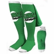 Big Bang Theory Bazinga Green Caped Socks