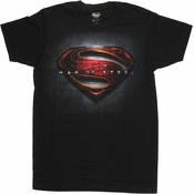 Superman Man of Steel Poster Logo T Shirt Sheer