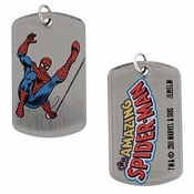 Spiderman Leg Up Dog Tag
