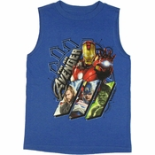 Avengers Movie Panels Sleeveless Youth T Shirt