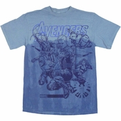 Avengers Movie Dyed Sketch T Shirt
