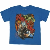 Avengers Movie Cracked Name Juvenile T Shirt