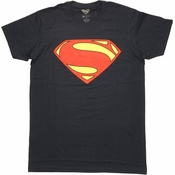 Superman Man of Steel Simple Logo T Shirt Sheer