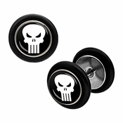 Punisher Faux Plug Earrings