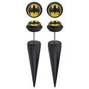 Batman Round Logo Faux Taper Earrings