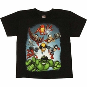 Marvel Hero Squad Team Juvenile T Shirt