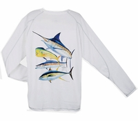 Aftco MHC62301 Guy Harvey Mens Marlin Champion Performance LS Tee Shirt