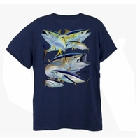 Aftco MTH2211 Guy Harvey Tuna Collage Mens Tee Shirt
