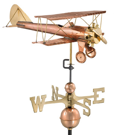 Large Biplane Airplane Weather Vane