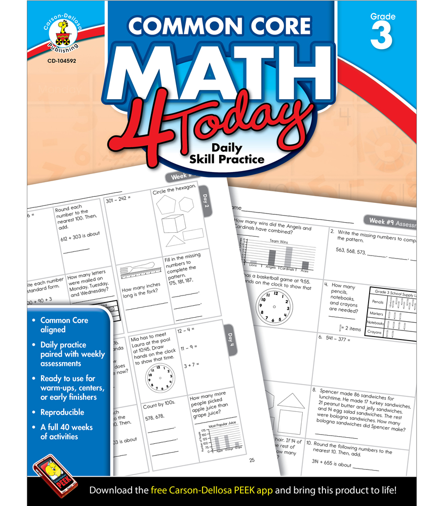 Common Core Math 4 Today Workbook Grade 3 by carson ...