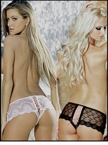 Crotchless Panty Booty Shorts Ribbon-Laced Rear