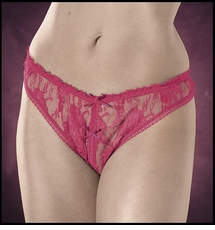 Plus Size Crotchless Panties Sheer Lace