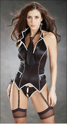 Crotchless Tux Bustier Set w/Stockings