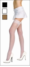Plus Size Stockings with Lace Top
