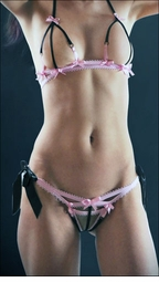 Crotchless Micro Panty & Open Bra Set Pink & Black