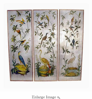 Wall Panel, Set/3, Birds, Floral Scene, Wooden