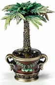 Enameled & Jeweled Palm Tree Box
