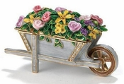 Enameled & Jeweled Wheelbarrel Flowers