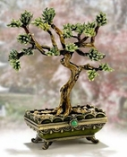 Enameled & Jeweled Bonsai Green Tree Box