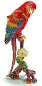 Enameled & Jeweled Red Macaw Box