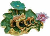 Enameled & Jeweled Frog Lilypad Box