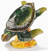 Enameled & Jeweled Green Sea Turtle Box