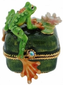 Enameled & Jeweled Frog Box