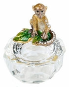 Faceted Glass Box, Enameled Monkey Box