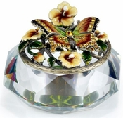 Irridescent Glass Box, Enamel Butterfly