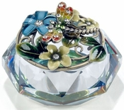 Irridescent Glass Box, Enamel Dragonfly