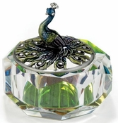 Irridescent Glass Box, Enamel Peacock