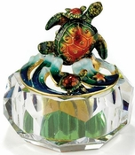 Irridescent Glass Box, Enamel Sea Turtle
