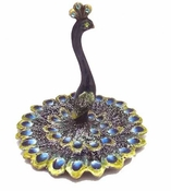 Jeweled & Enameled Peacock Jewelry Holder / Ring Tray
