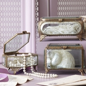 Large Beveled Glass and Brass Boxes, Sold Each