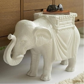 Elephant Side Table - White Ceramic