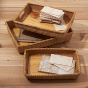 Set/3 Rattan Nested Trays