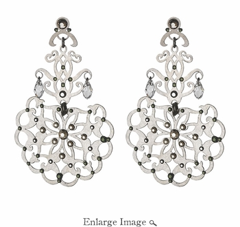 LK Jewelry Pierced Earring Silver & Black Diamond Silver