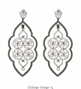 LK Jewelry Pierced Earring Silver Leaves & Black Diamond Crystal