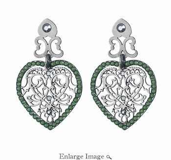 LK Jewelry Pierced Earring Dark Silver Heart & Royal Green Crystals