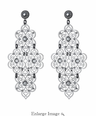 LK Jewelry Pierced Filigree Earring Silver & Black Diamond Crystal