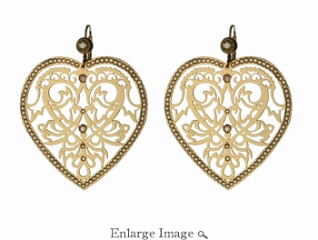 LK Jewelry Pierced Heart Earring Yellow Gold & Golden Shadow