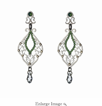 LK Jewelry Pierced Earring Dark Silver & Royal Green Crystals