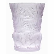 Daum Crystal White Lions Vase - Guaranteed Lowest Price