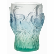 Daum Crystal Blue Heron Vase - Guaranteed Lowest Price